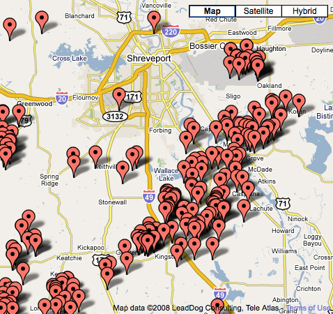 Current natural gas wells in Shreveport and Bossier City.